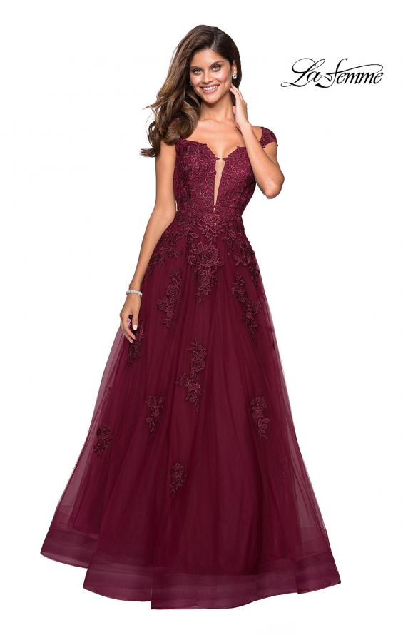 Picture of: Floor Length Cap Sleeve Prom Gown with Lace Detail in Wine, Style: 27503, Detail Picture 3