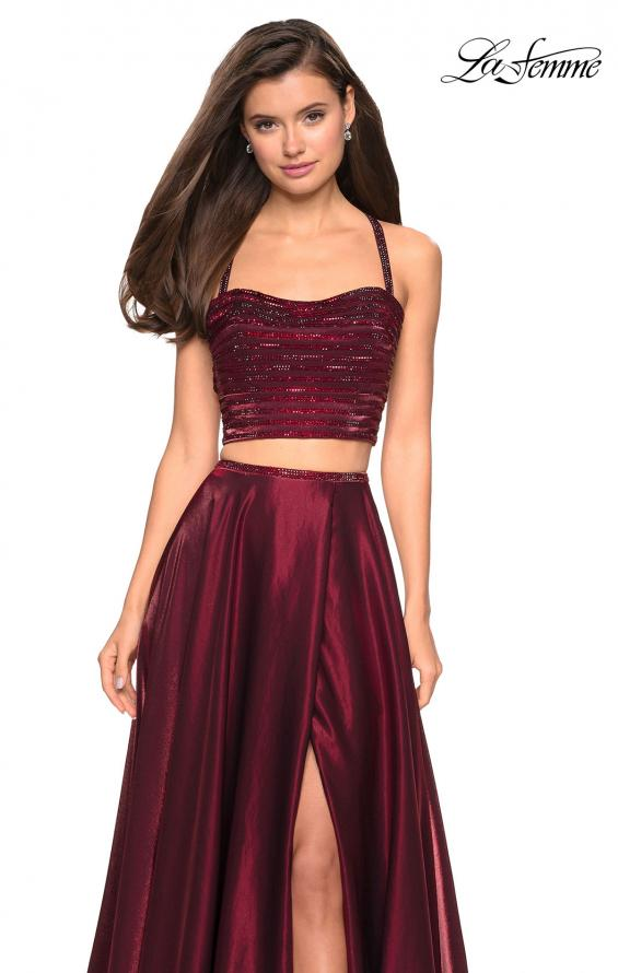 Picture of: Two PIece Satin Prom Dress with Rhinestone Top in Wine, Style: 27607, Detail Picture 3