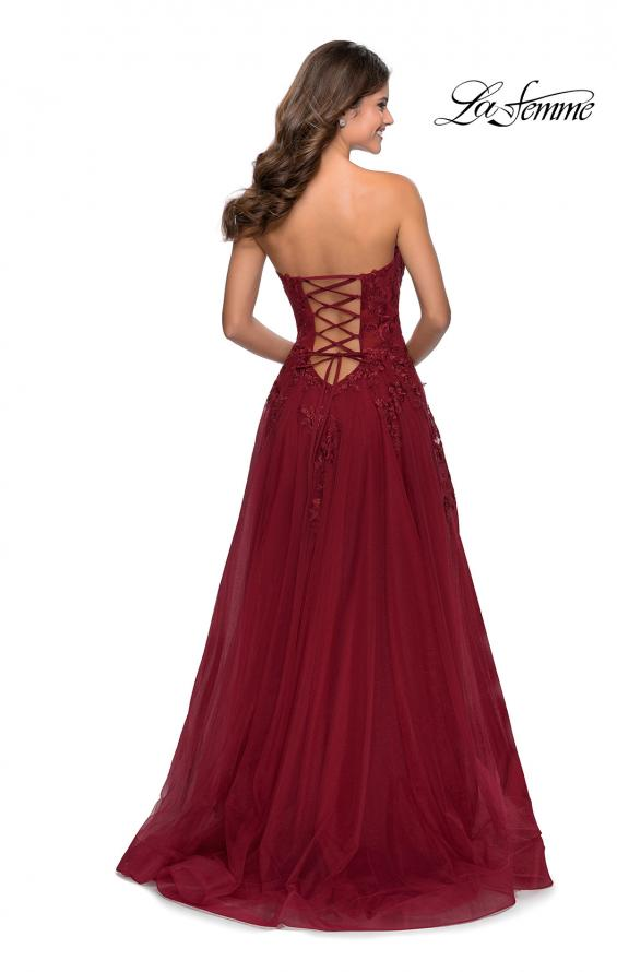 Picture of: Strapless Tulle Dress with Cascading Floral Detail in Wine, Style: 28599, Detail Picture 3