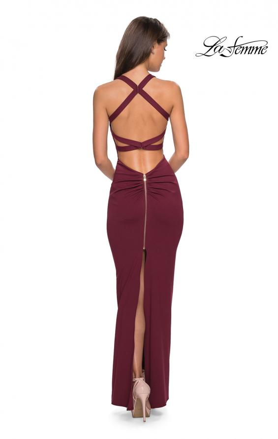 Picture of: Body Forming Dress with Exposed Zipper and Slit in Wine, Style: 27637, Detail Picture 4