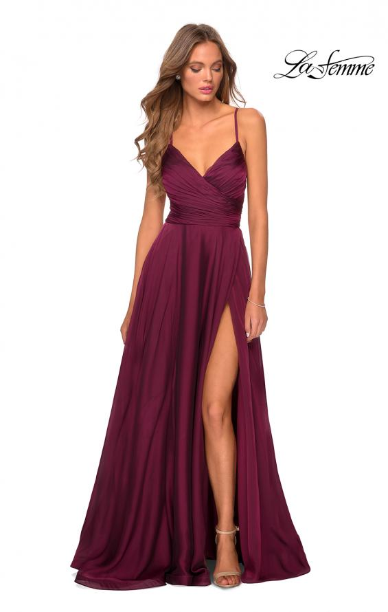 Picture of: Elegant Long Chiffon Prom Dress with Pleated Bodice in Wine, Style: 28575, Detail Picture 4
