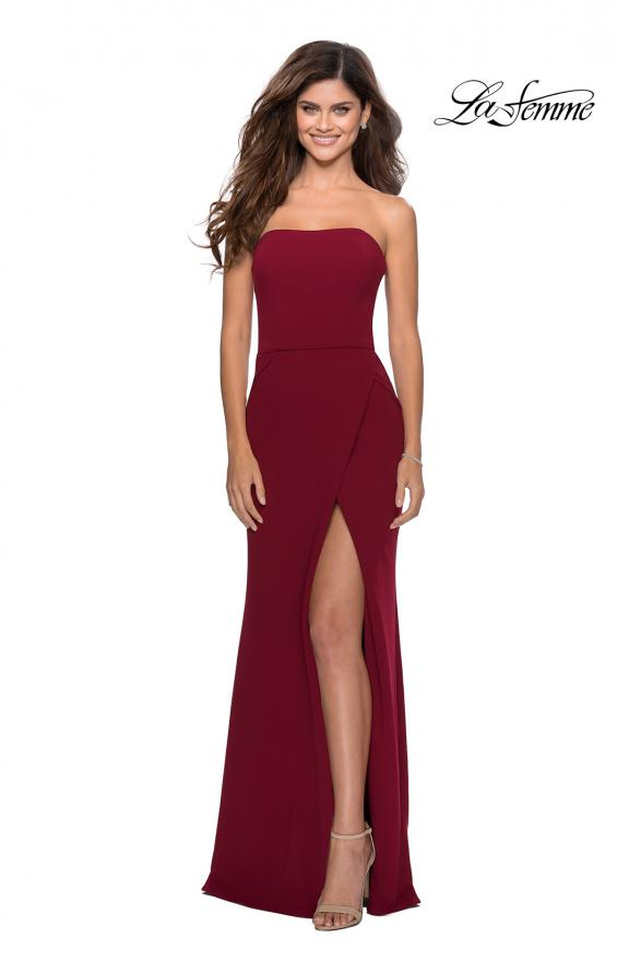 Picture of: Strapless Double Strap Long Jersey Prom Dress in Wine, Style: 28835, Detail Picture 4
