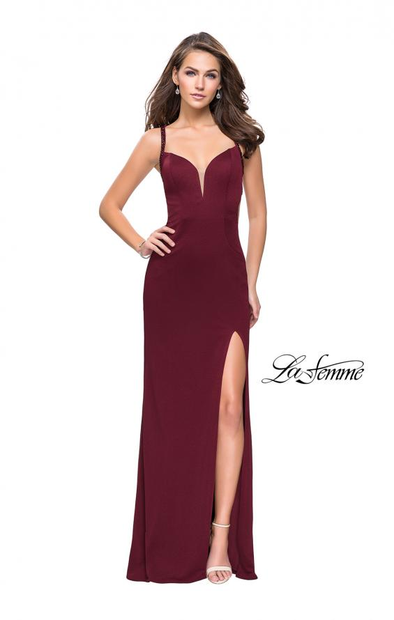 Picture of: Form Fitting Prom Dress with Metallic Straps and Slit in Wine, Style: 26021, Detail Picture 5