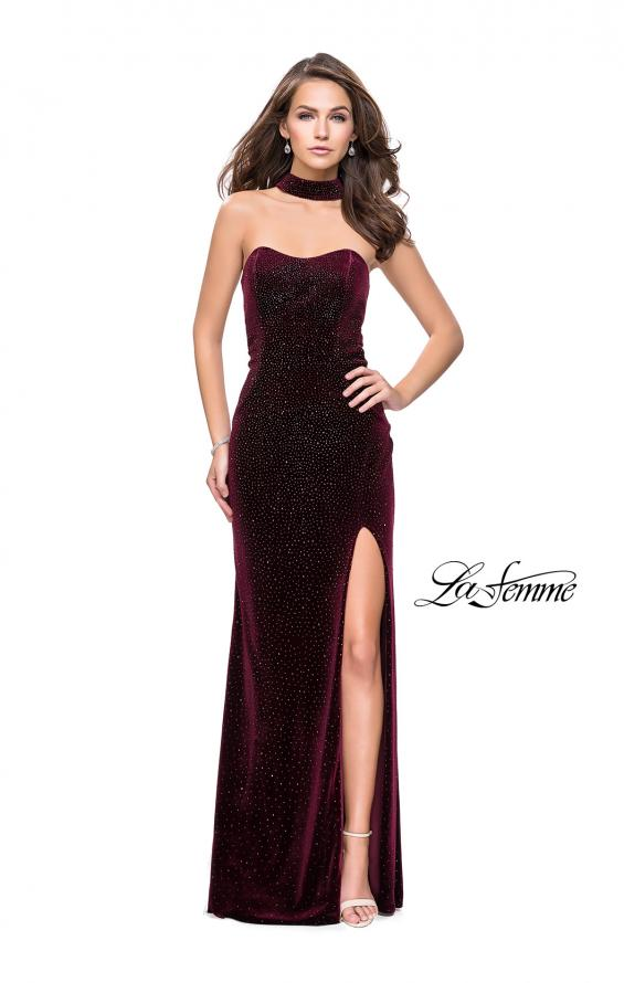 Picture of: Long Strapless Velvet Prom Gown with Cascading Beads in Wine, Style: 26239, Detail Picture 5