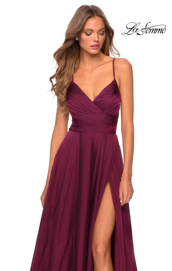 Picture of: Elegant Long Chiffon Prom Dress with Pleated Bodice in Wine, Style: 28575, Detail Picture 6