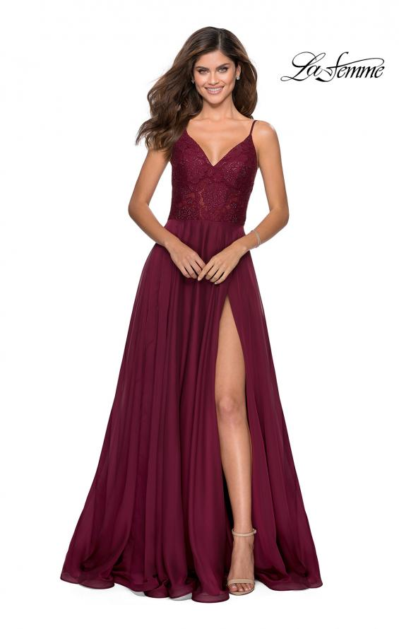 Picture of: Chiffon Prom Dress with Sheer Floral Lace Bodice in Wine, Style: 28664, Detail Picture 7