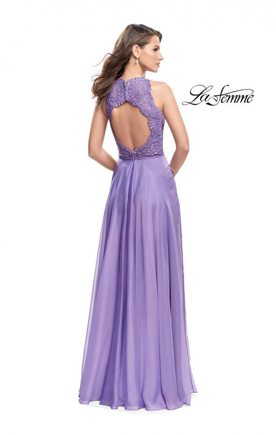 Picture of: Long A-line Dress with Chiffon Skirt and Strappy Details, Style: 25487, Back Picture