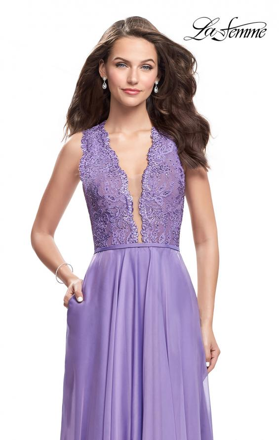 Picture of: Long A-line Dress with Chiffon Skirt and Strappy Details, Style: 25487, Detail Picture 1