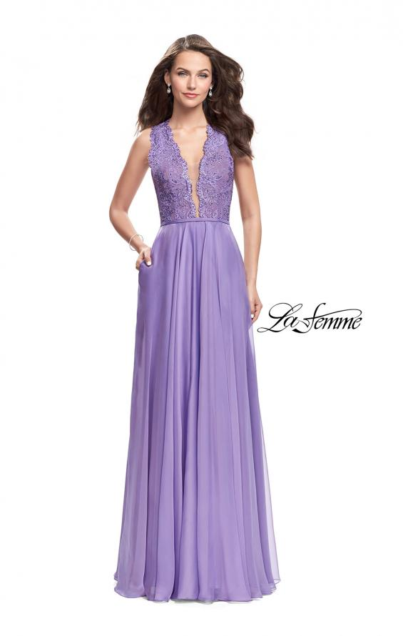 Picture of: Long A-line Dress with Chiffon Skirt and Strappy Details, Style: 25487, Detail Picture 4