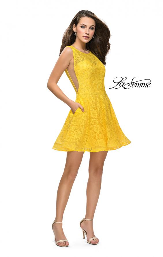 Picture of: Lace Short Dress with Rhinestones and Pockets in Yellow, Style: 26616, Detail Picture 10