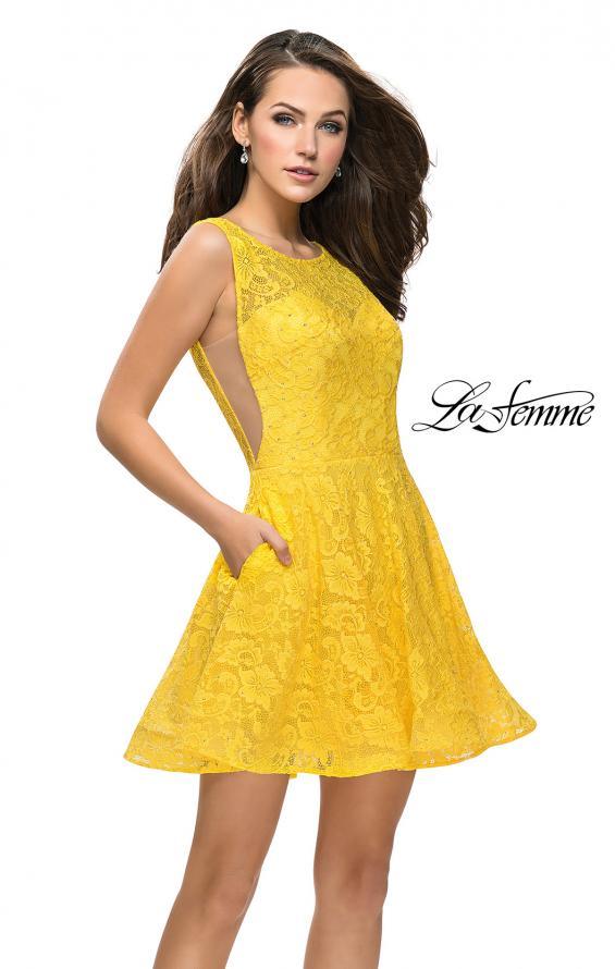 Picture of: Lace Short Dress with Rhinestones and Pockets in Yellow, Style: 26616, Detail Picture 3