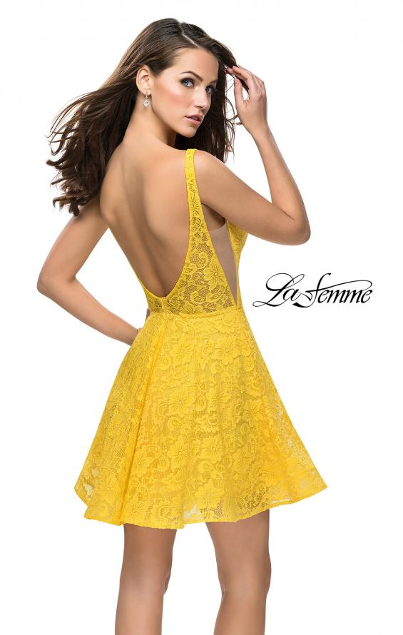 Picture of: Lace Short Dress with Rhinestones and Pockets in Yellow, Style: 26616, Detail Picture 4