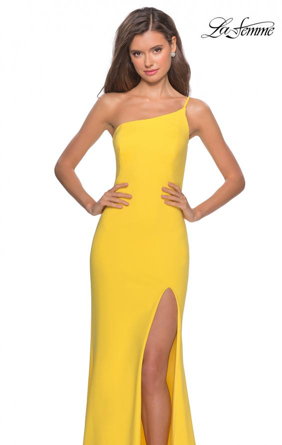 Picture of: One Shoulder Long Jersey Homecoming Dress in Yellow, Style: 28176, Detail Picture 4