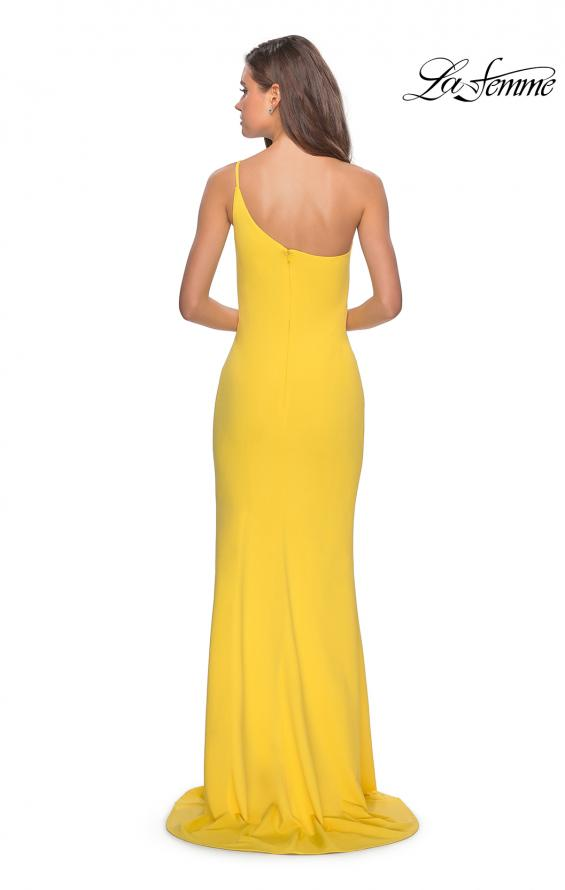 Picture of: One Shoulder Long Jersey Homecoming Dress in Yellow, Style: 28176, Detail Picture 5