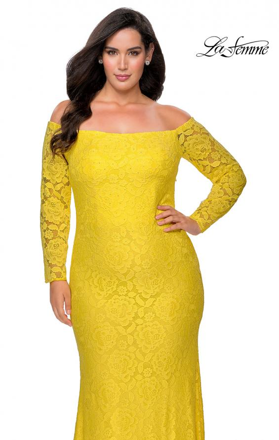 Picture of: Long Sleeve Off The Shoulder Lace Plus Size Dress in Yellow, Style: 28859, Detail Picture 8