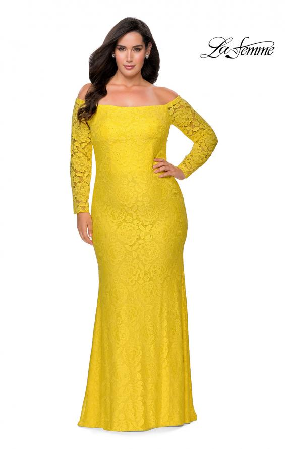 Picture of: Long Sleeve Off The Shoulder Lace Plus Size Dress in Yellow, Style: 28859, Detail Picture 2