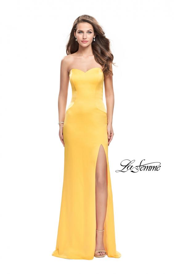 Picture of: Long Strapless Form Fitting Dress with Beaded Straps in Yellow, Style: 26253, Main Picture