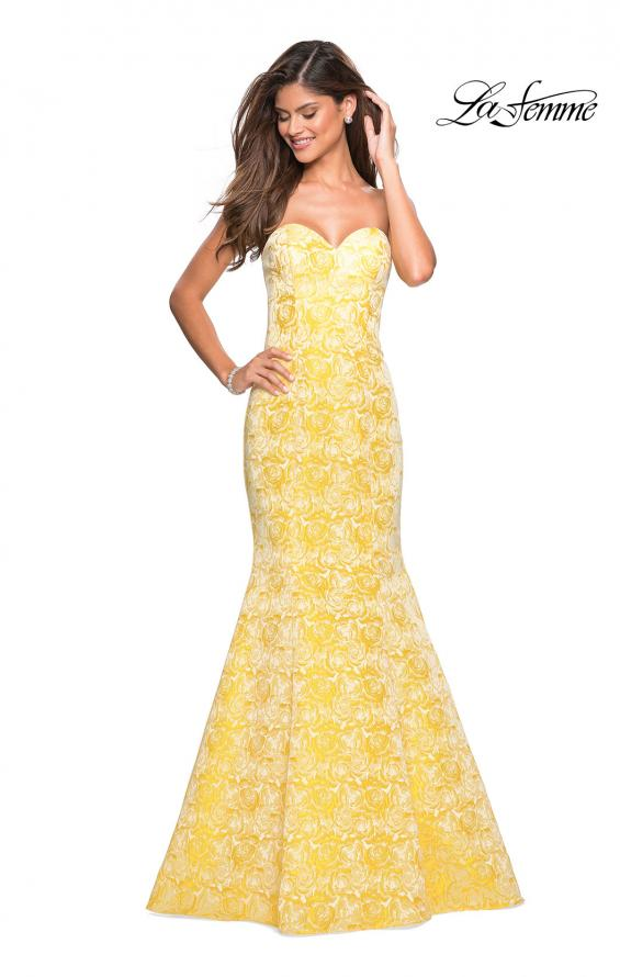 Picture of: Floral Strapless Floor Length Mermaid Prom Gown in Yellow, Style: 26975, Main Picture