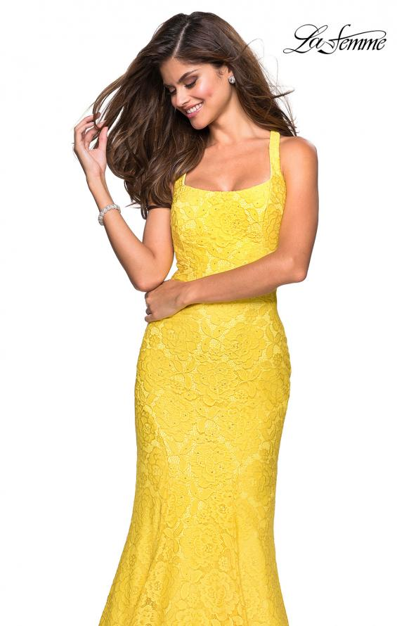 Picture of: Stretch Lace Mermaid Prom Dress with Cut Out Back in Yellow, Style: 27484, Main Picture