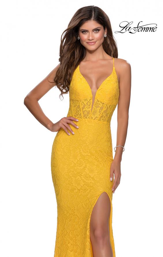 Picture of: Floor Length Lace Prom Dress with Sheer Bodice in Yellow, Style: 28591, Main Picture