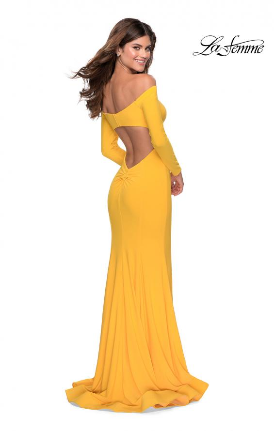 Picture of: Off the Shoulder Long Sleeve Jersey Prom Dress in Yellow, Style: 28754, Main Picture
