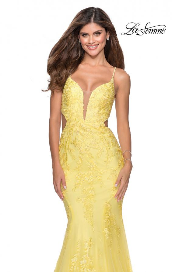 Picture of: Mermaid Tulle Gown with Floral Lace and Rhinestones in Yellow, Style: 28768, Main Picture