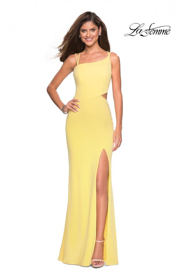 Picture of: Asymmetrical Jersey Prom Dress with Cut Outs in Yellow, Style: 27126, Detail Picture 8