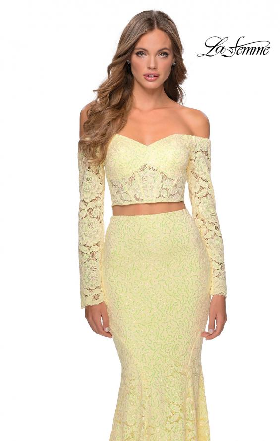 Picture of: Lace Sleeve Lace and Sequin Two Piece Prom Dress in Yellow, Style: 28666, Detail Picture 8