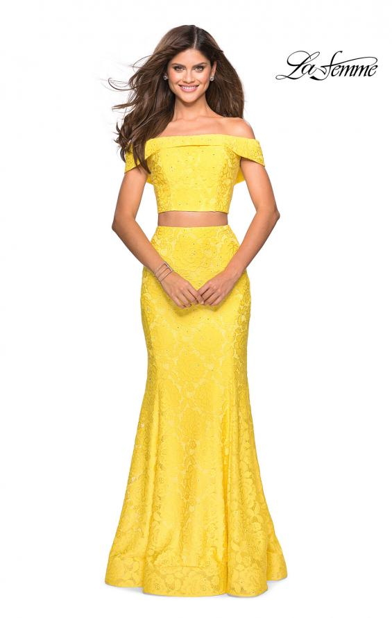 Picture of: Lace Two Piece Off the Shoulder Dress with Rhinestones in Yellow, Style: 27443, Detail Picture 9