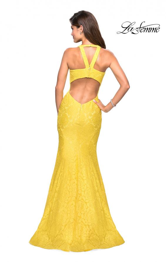 Picture of: Stretch Lace Mermaid Prom Dress with Cut Out Back in Yellow, Style: 27484, Back Picture
