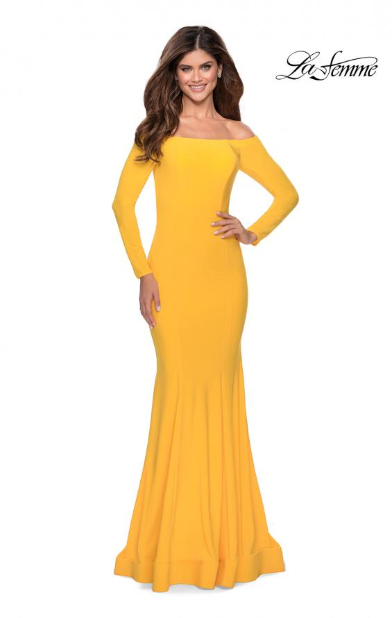 Picture of: Off the Shoulder Long Sleeve Jersey Prom Dress in Yellow, Style: 28754, Back Picture