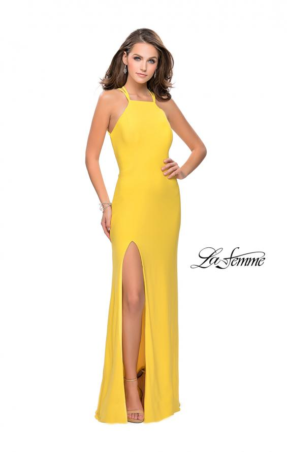 Picture of: Long Jersey Prom Dress with Strappy Open Back, Style: 25736, Detail Picture 1