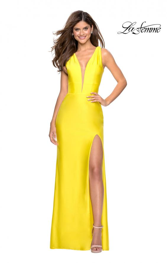 Picture of: Form Fitting Long Jersey Dress with Plunging Neckline in Yellow, Style: 27602, Detail Picture 1