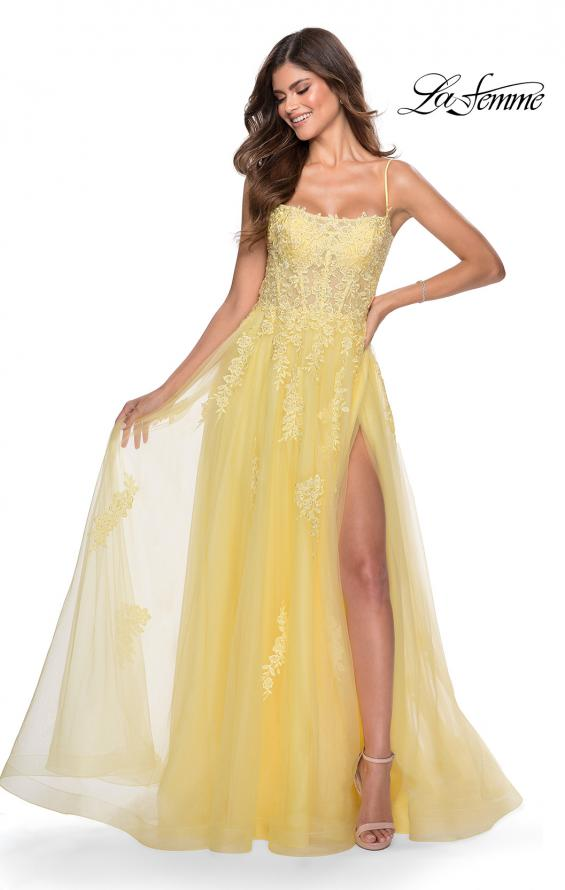 Picture of: A-line Tulle Gown with Floral Embroidery and Pockets in Yellow, Style: 28470, Detail Picture 1