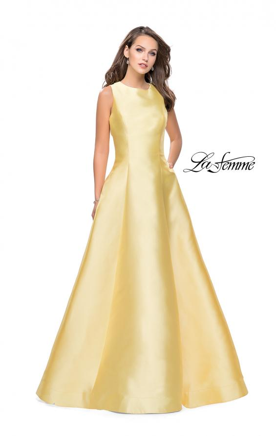 Picture of: Long Mikado Ball Gown with Boat Neck and Criss Cross Back in Yellow, Style: 25425, Detail Picture 2