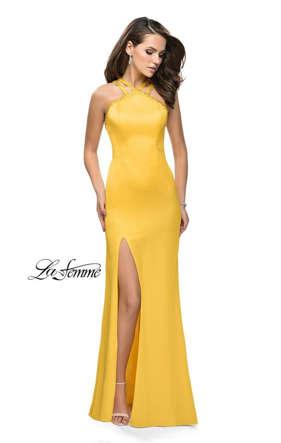 Picture of: Satin Prom Gown with Beaded Straps and Open Back in Yellow, Style: 25906, Detail Picture 2