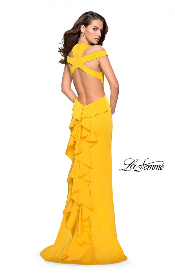 Picture of: Long Jersey Prom Dress with Ruffle Detail and Slit in Yellow, Style: 25971, Detail Picture 2