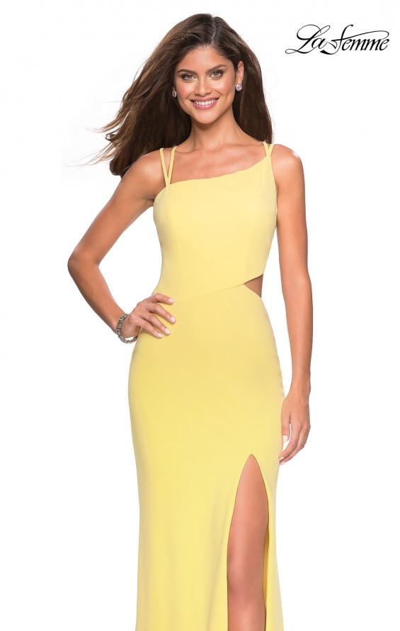 Picture of: Asymmetrical Jersey Prom Dress with Cut Outs in Yellow, Style: 27126, Detail Picture 2