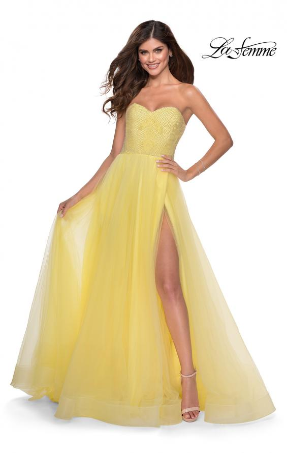 Picture of: Tulle A-line Ball Gown with Net Beaded Bodice in Yellow, Style: 28559, Detail Picture 2