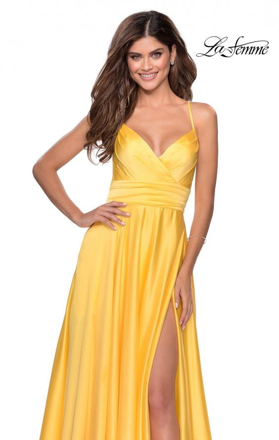 Picture of: Elegant Satin Prom Gown with Empire Waist in Yellow, Style: 28571, Detail Picture 2