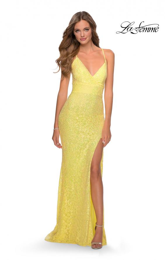 Picture of: Stretch Lace Dress with Lace Up Back and Rhinestones in Yellow, Style: 28632, Detail Picture 2