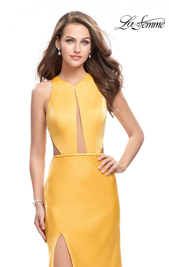 Picture of: Satin Prom Gown with High Neck and Side Cut Outs in Yellow, Style: 26005, Detail Picture 3