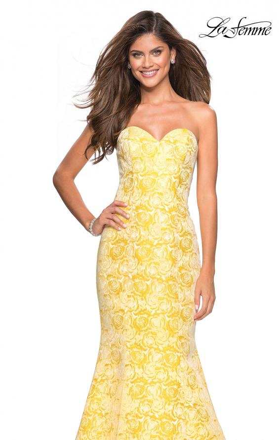 Picture of: Floral Strapless Floor Length Mermaid Prom Gown in Yellow, Style: 26975, Detail Picture 3