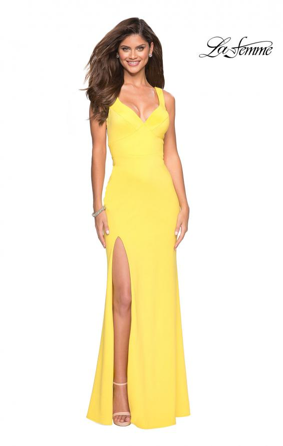Picture of: Long Jersey Prom Dress with Cut Out Back Detail in Yellow, Style: 27181, Detail Picture 3
