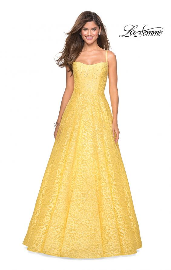 Picture of: Long Lace Organza Sweetheart Neckline Gown in Yellow, Style: 27190, Detail Picture 3