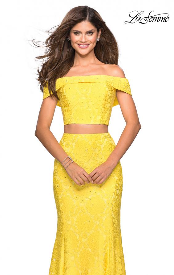 Picture of: Lace Two Piece Off the Shoulder Dress with Rhinestones in Yellow, Style: 27443, Detail Picture 3