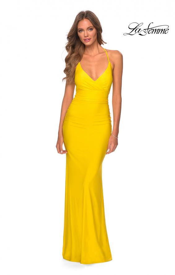 Picture of: Empire Waist Dress with Ruching and Lace Up Back in Yellow, Style: 28593, Detail Picture 3