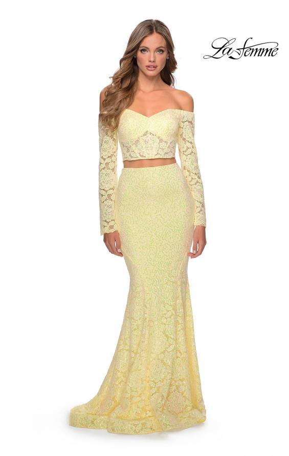 Picture of: Lace Sleeve Lace and Sequin Two Piece Prom Dress in Yellow, Style: 28666, Detail Picture 3