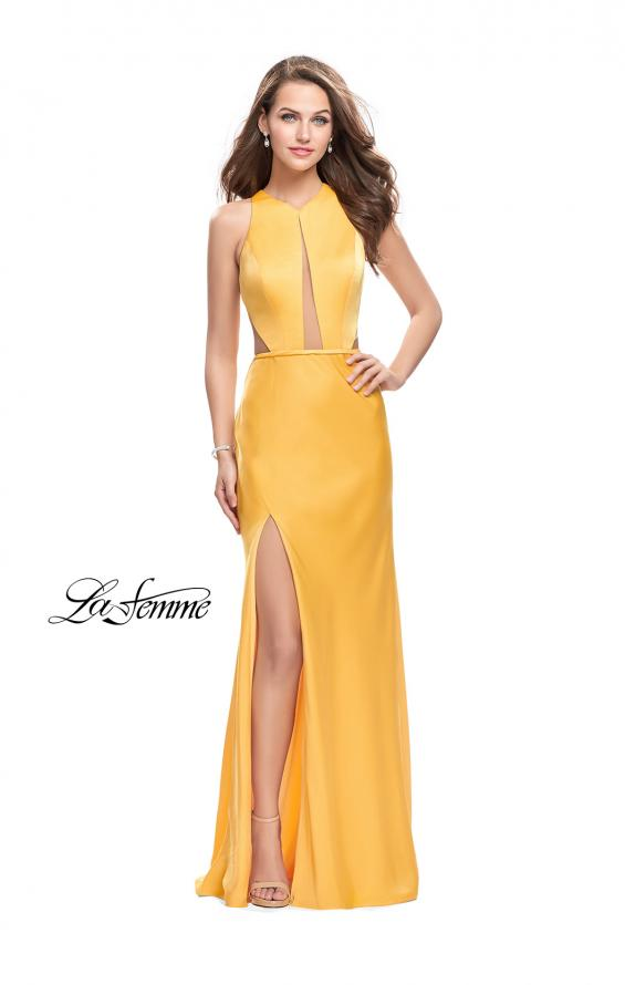 Picture of: Satin Prom Gown with High Neck and Side Cut Outs in Yellow, Style: 26005, Detail Picture 2