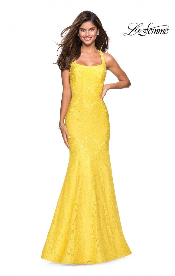 Picture of: Stretch Lace Mermaid Prom Dress with Cut Out Back in Yellow, Style: 27484, Detail Picture 4